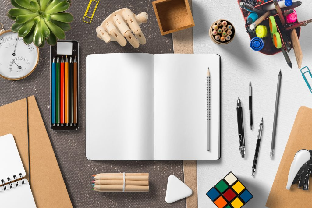 Art materials on the table