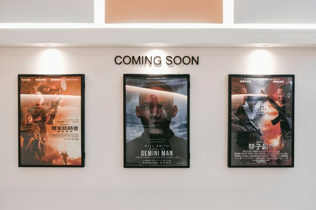 movie posters at a theater