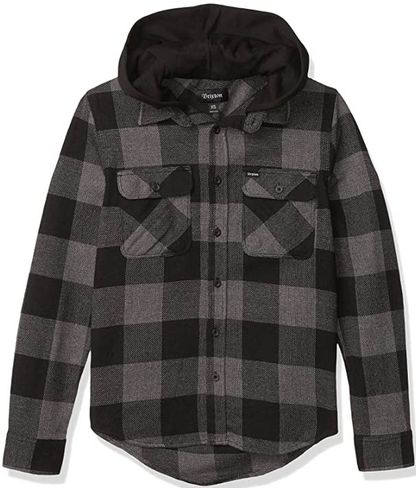 Brixton Mens Bowery Standard Fit Hooded Flannel Shirt