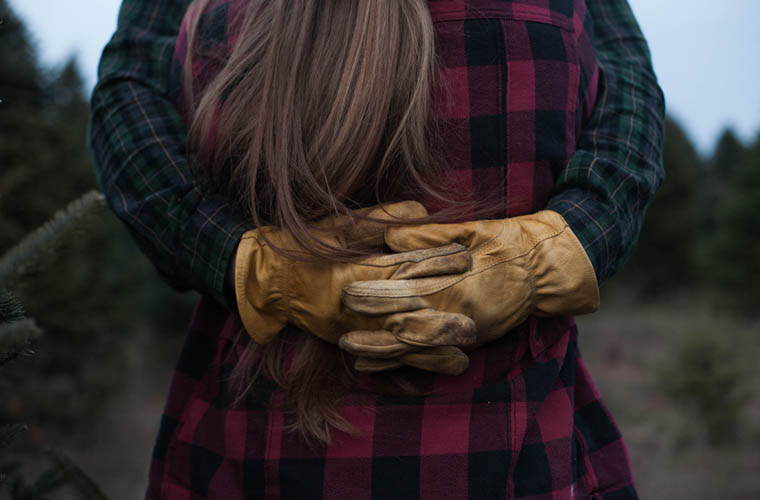 Woman wearing flannel clothing