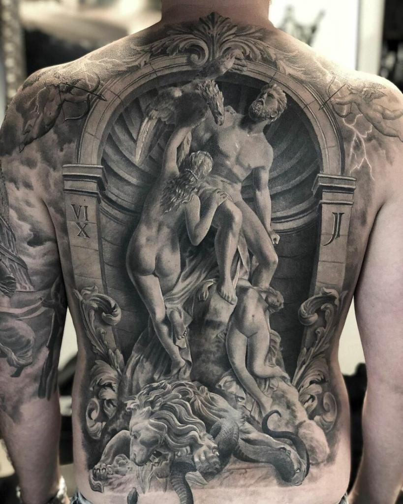 realism back tattoo