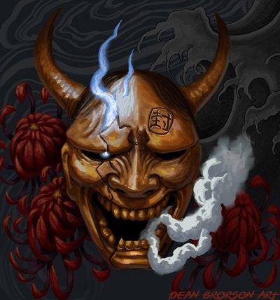 Demon mask tattoo sample