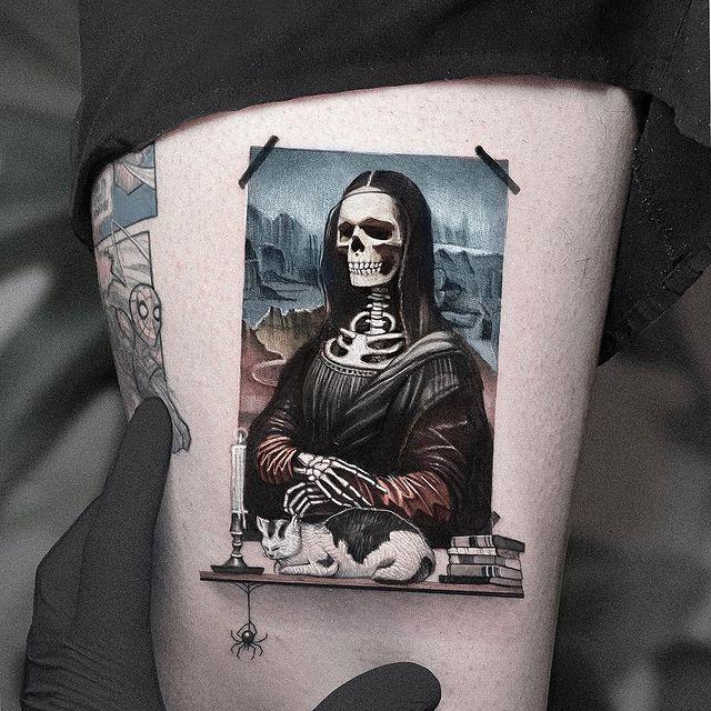 mona lisa skeleton tattoo