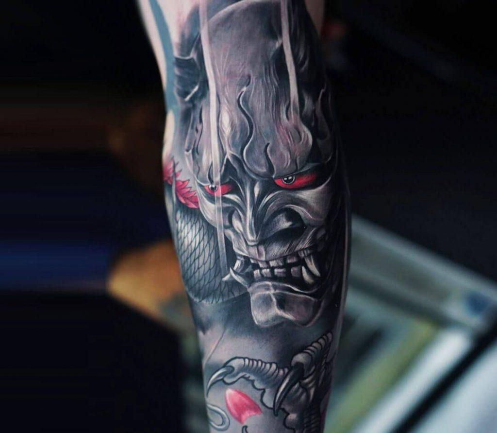 Hannya Mask tattoo on arm