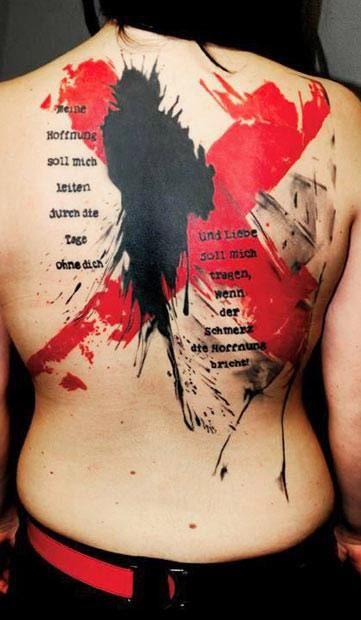 x tattoo on back