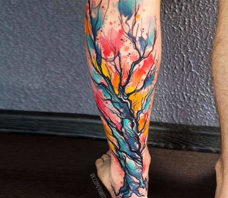 Watercolor Tree tattoo on leg