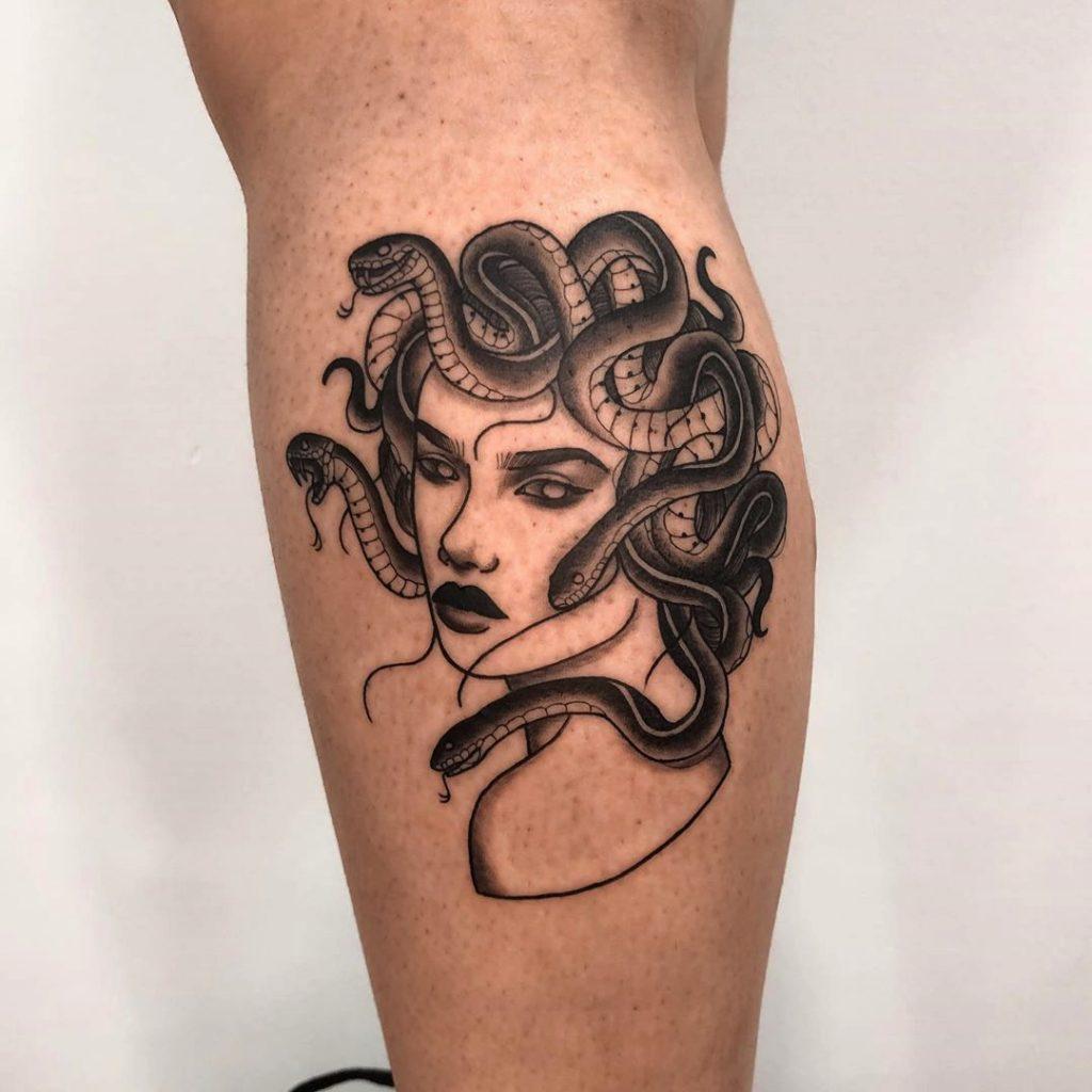medusa tattoo on the calf