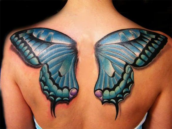 3D butterfly tattoo on a person's back
