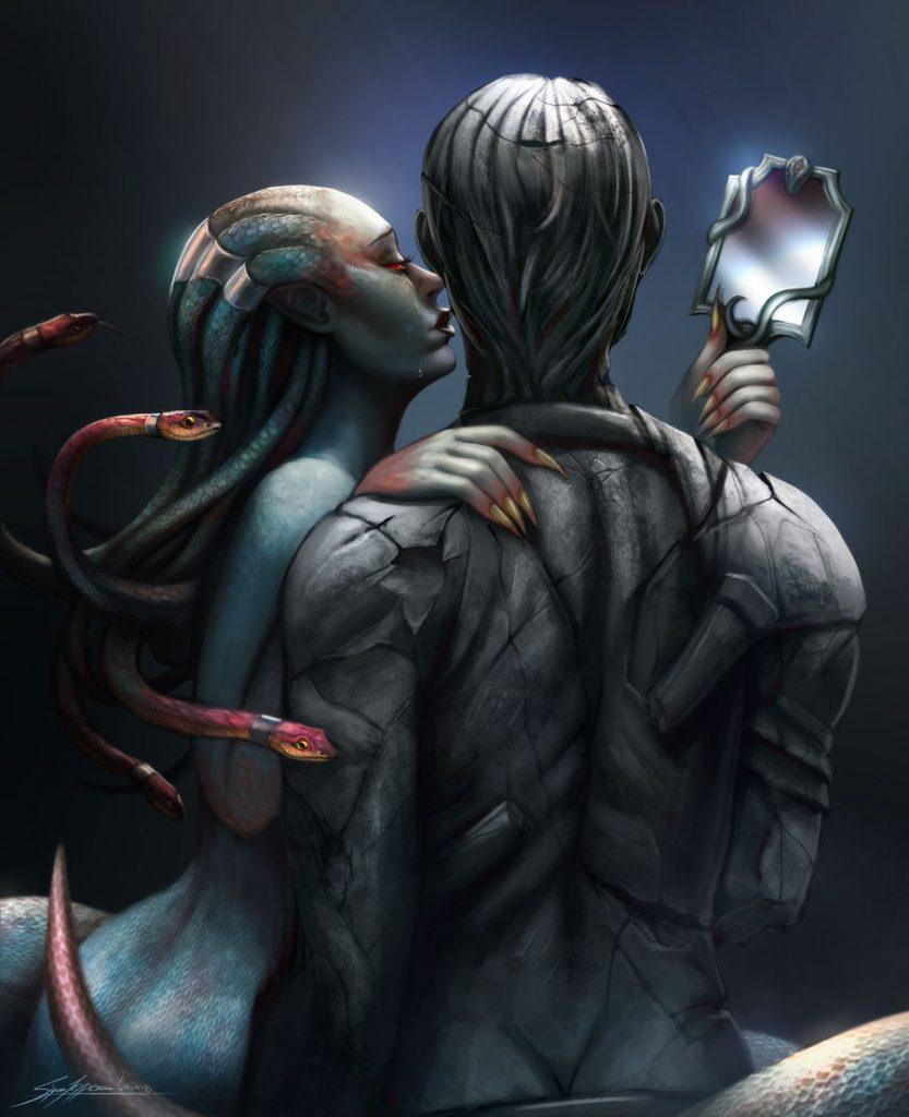 medusa holding a mirror