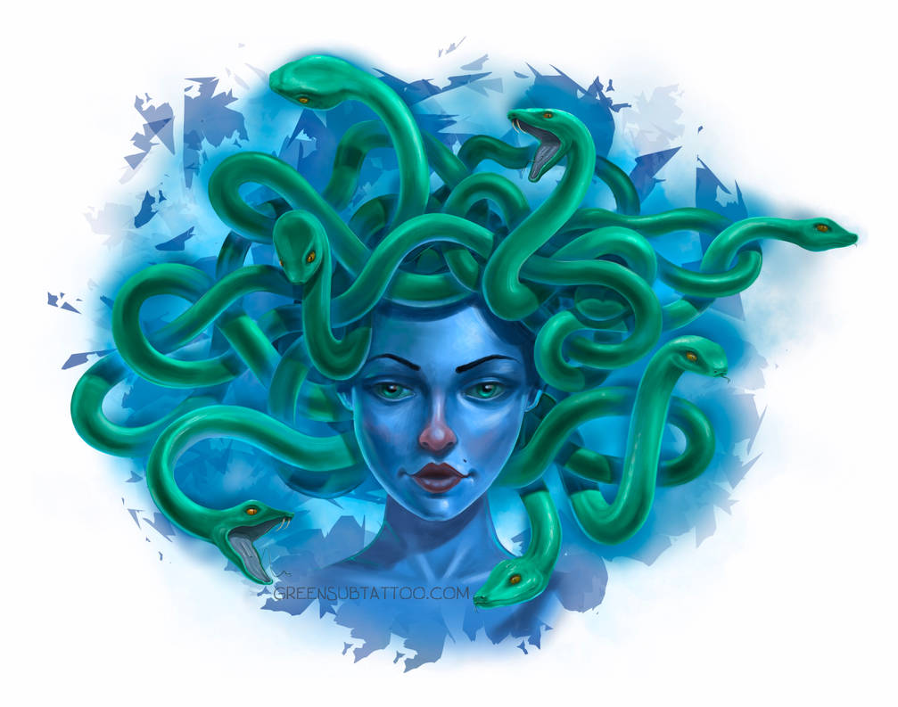 blue and green medusa template
