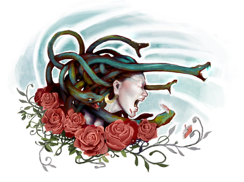 screaming medusa with roses